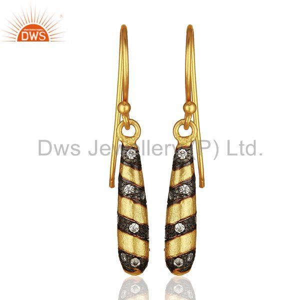 Handmade Brass Gold Plated Dangle White Zircon Fashion Earrings