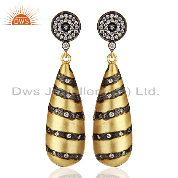 Designer Brass Gold Plated Fashion Cz Gemstone Earrings Wholesale