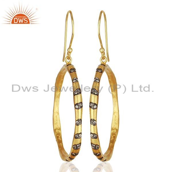Round Brass Gold Plated Fashion Cz Gemstone Hoop Earrings Suppliers