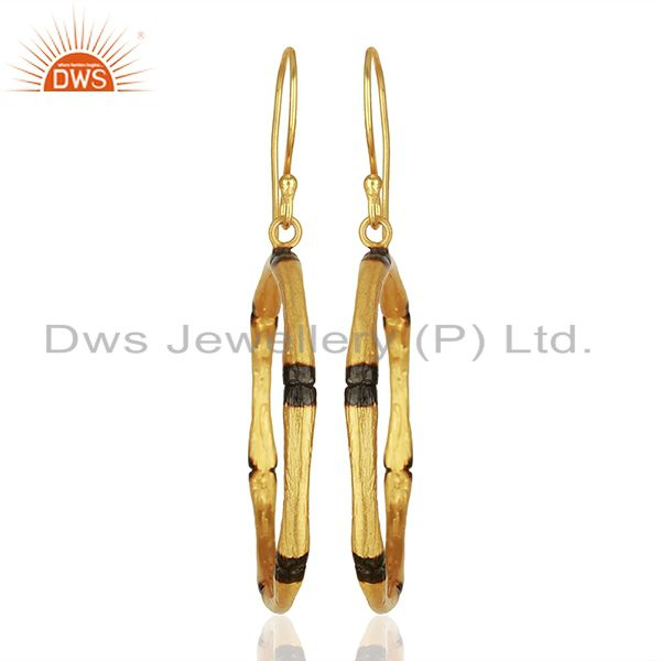 Handmade Round Brass Fashion Gold Plated Hoop Earrings Supplier
