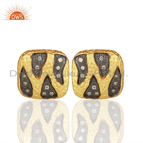Two Tone Brass White Zircon Fashion Girls Stud Earrings Manufacturers
