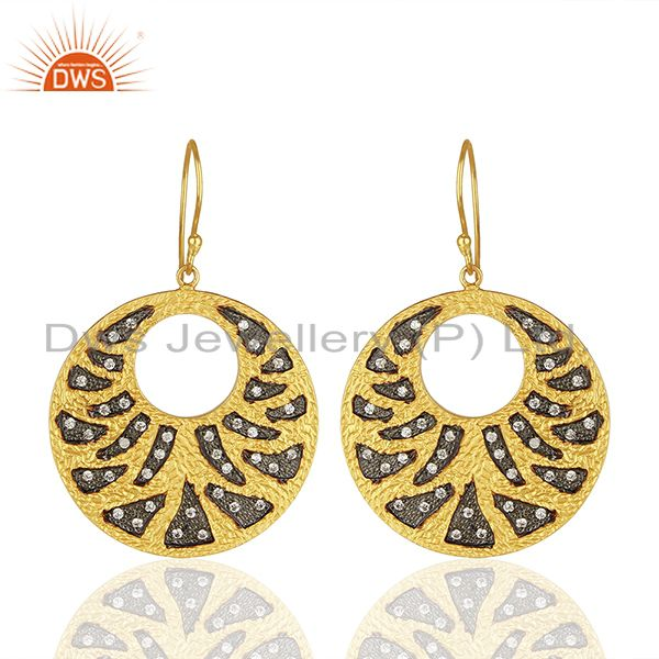 Handamde Gold Plated Brass Fashion CZ Gemstone Earrings Manufacturer
