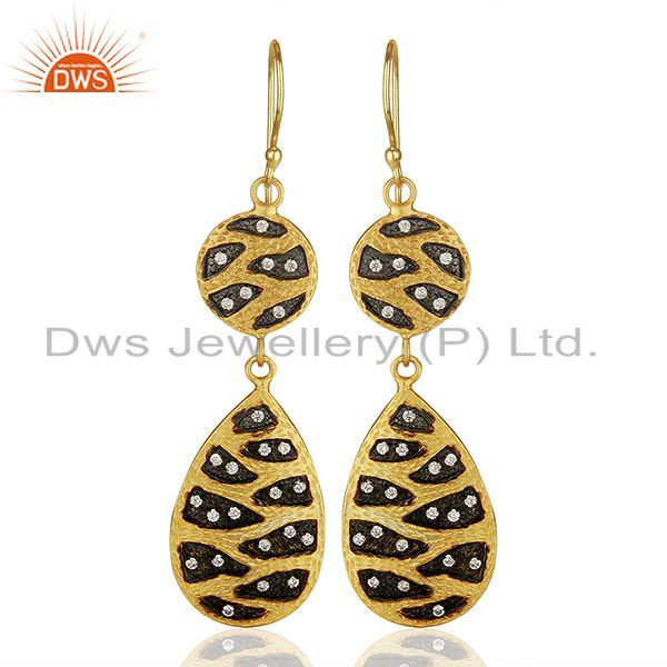 Indian Handmade Gold Plated Brass Cz Gemstone Fashion Earrings