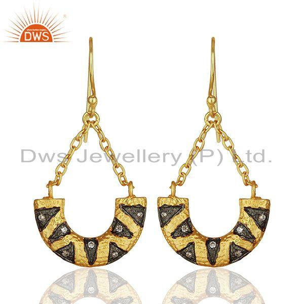 Designer Gold Plated Cz Gemstone Brass Fashion Chain Earring Wholesale
