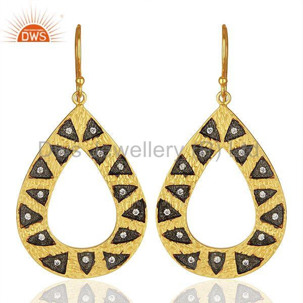 Wholesale Gold Plated Brass Fashion Cz Gemstone Earring Jewelry