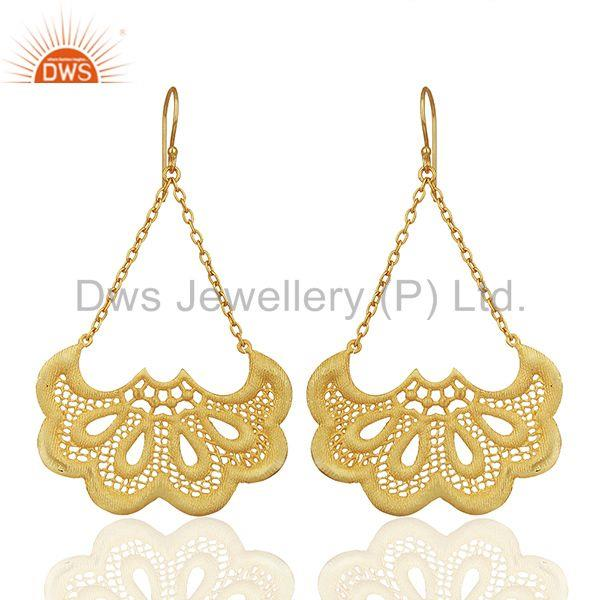 Filigree Design Brass Gold Plated Fashion Chain Earrings Manufacturer
