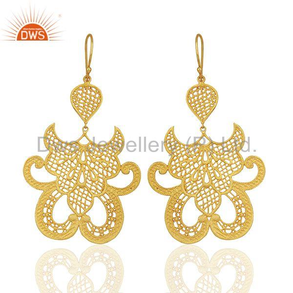 Embellished Crest Earring set with lace tear drop Designer Earring