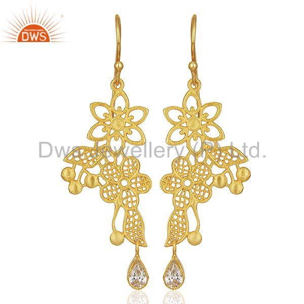 Lace flower trellis with bezel set semi-precious stone Designer Earring