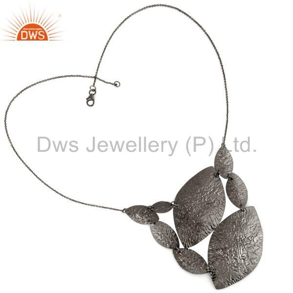 Handcrafted Brass Black Rhodium Plated Necklace Jewelry Wholesale