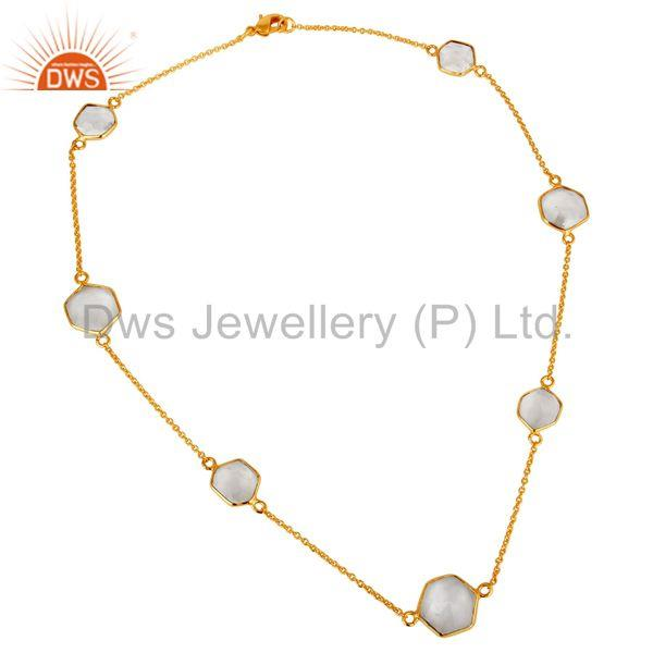 Traditional Handmade 18K Yellow Gold Plated Crystal Quartz Brass Chain Necklace