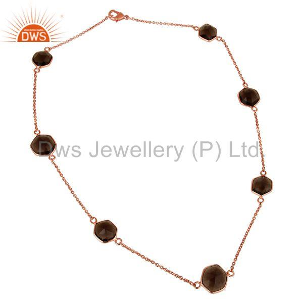Traditional Handmade 18K Rose Gold Plated Smokey Topaz Brass Chain Necklace