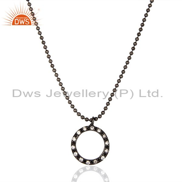 Black Oxidized White Zircon Round Style Chain Pendant Necklace