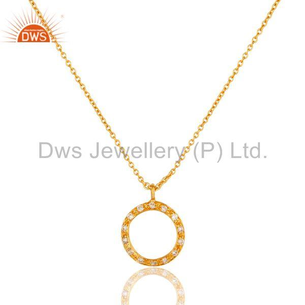 18k Gold Plated White Zirconia Round Style Chain Pendant Necklace