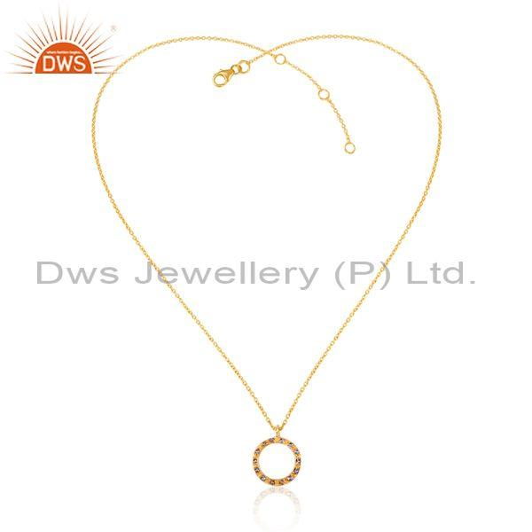 Iolite set gold on sterling silver round pendant and chain