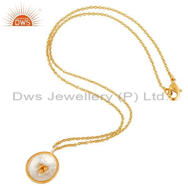 Gold On Fine 925 Sterling Silver Round Pendant And Necklace
