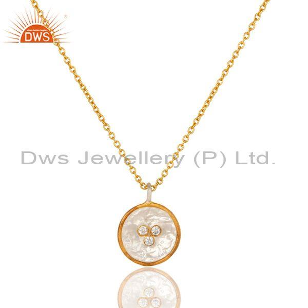 CZ, Gold On Fine Sterling Silver Round Pendant And Necklace