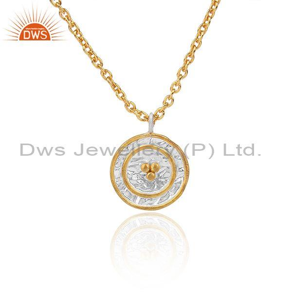 Classic Gold On 925 Fine Sterling Silver Pendant And Chain