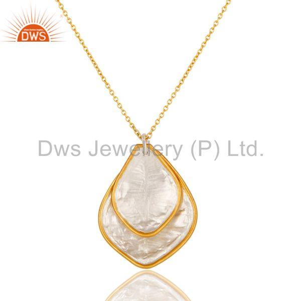 Traditional Handmade 18K Yellow Gold Plated Simple Setting Brass Chain Pendant