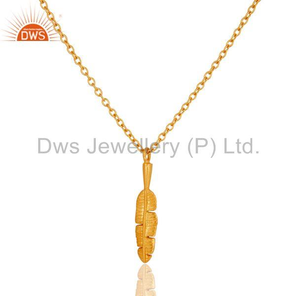 22k Yellow Gold Plated Nice Banana Leaf Design Brass Chain Pendant Necklace