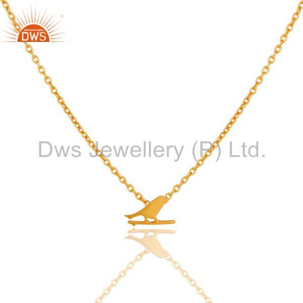 22K Yellow Gold Plated Handmade Bird Design Brass Chain Pendant Necklace