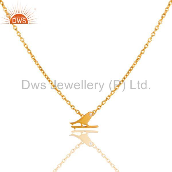 18K Yellow Gold Plated Handmade Bird Design Brass Chain Pendant Necklace