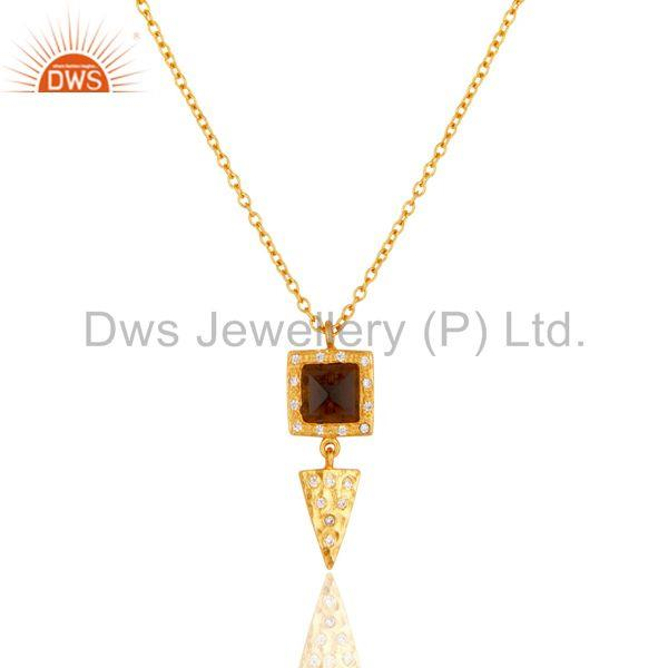22k Gold Plated Smokey Topaz & White Zirconia Brass Chain Pendant Necklace