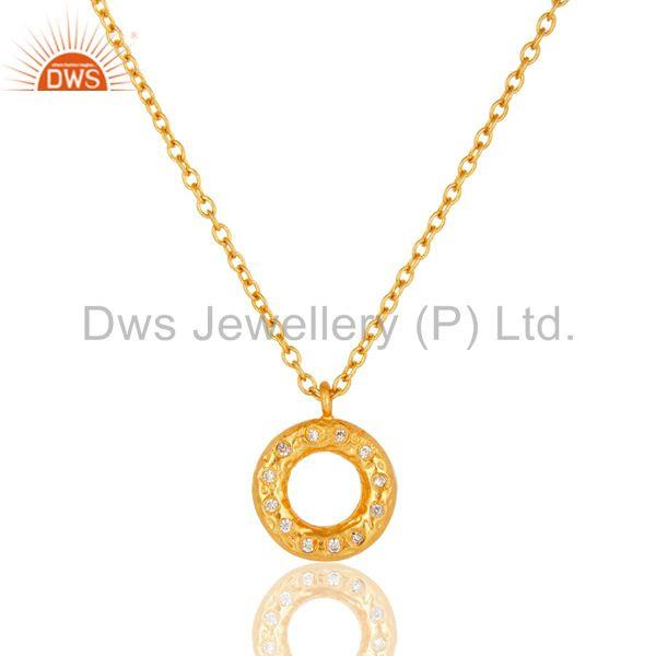 18k Gold Plated Beautiful Round Cut White Zirconia Over Brass Chain Pendant