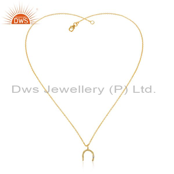 18k Yellow Gold Plated White Zircon Boho Style Brass Chain Pendant
