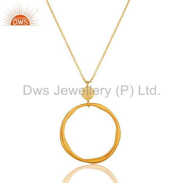 18k Yellow Gold Plated Fashion Round Cut White Zircon Brass Chain Pendant