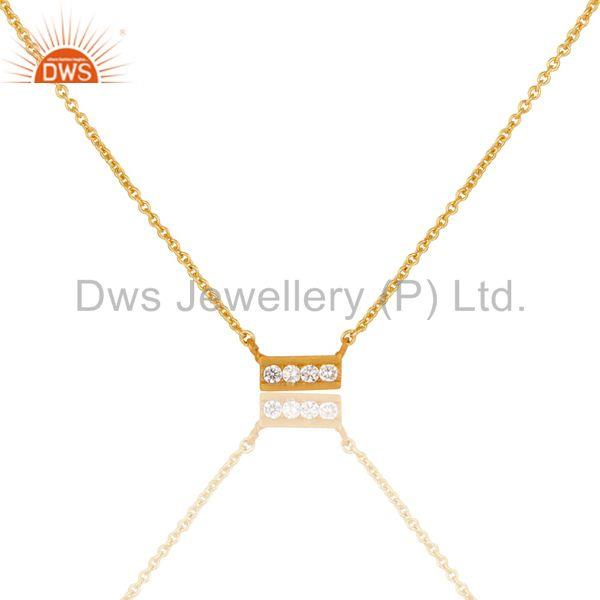 Simple Bar Design Handmade Gold Plated Brass Fashion Chain Pendant