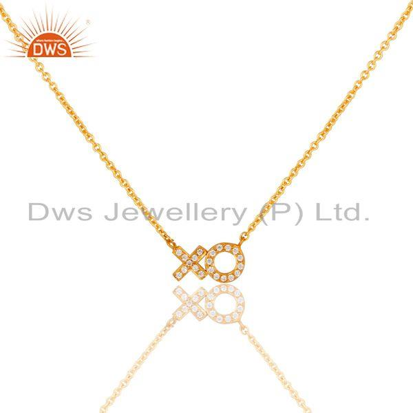 Xo Design White Zircon Gold Plated Brass Fashion Chain Pendant Jewelry