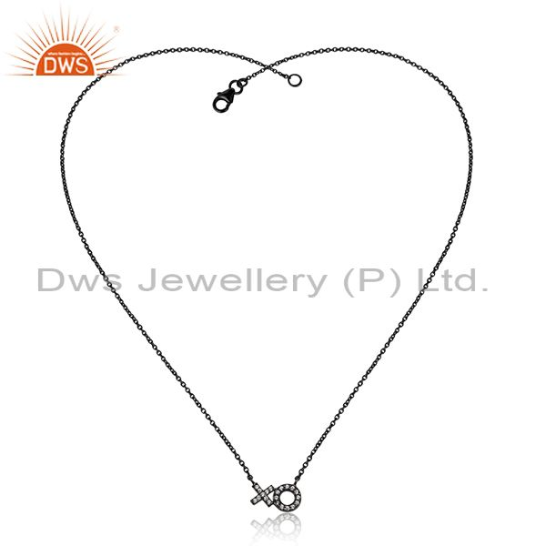 Handmade Black Rhodium Plated Silver Cz Chain Pendant Necklace