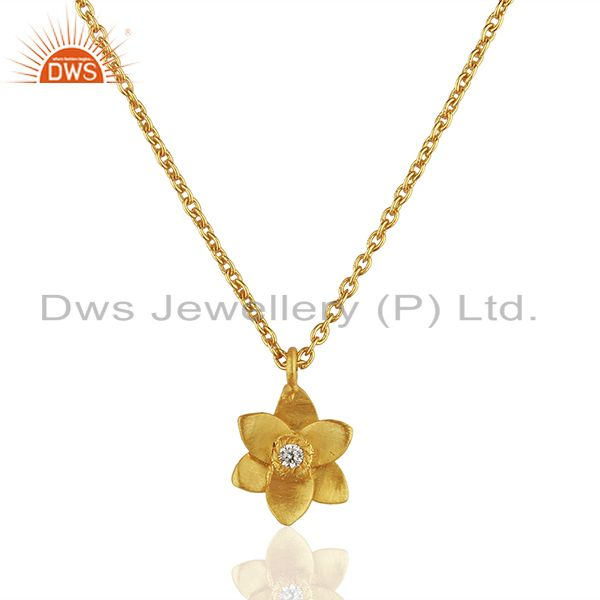 22k yellow gold plated handmade flower design white zirconia brass chain pendant