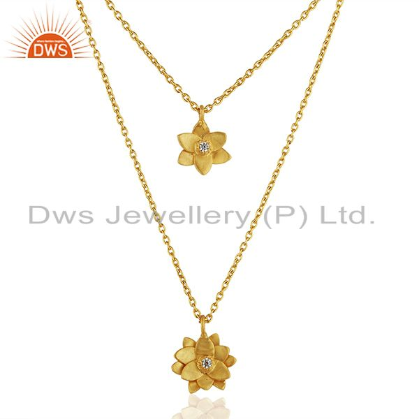 22K Yellow Gold Plated Handmade White Zirconia Double Flower Brass Chain Pendant