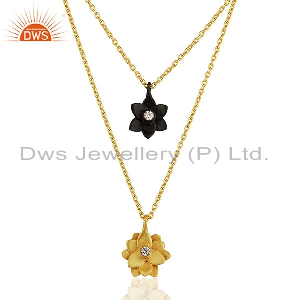 Traditional Handmade 22K Gold Plated Little Lotus Design Brass Chain Pendant