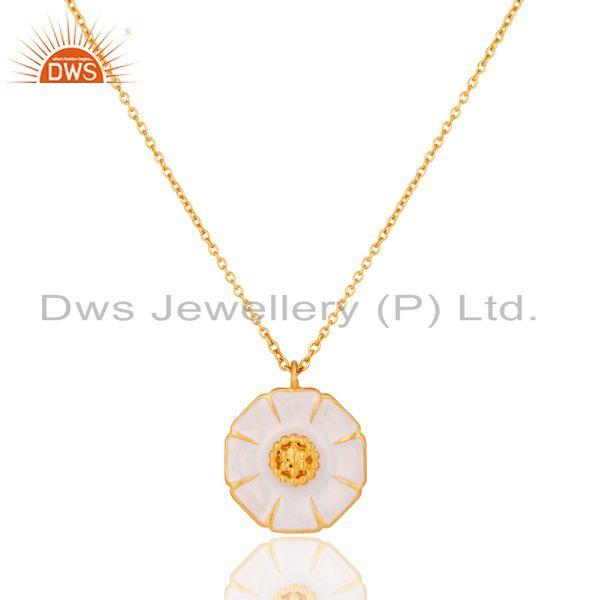 18K Gold Plated Handmade Flower Design Brass Chain Pendant Necklace