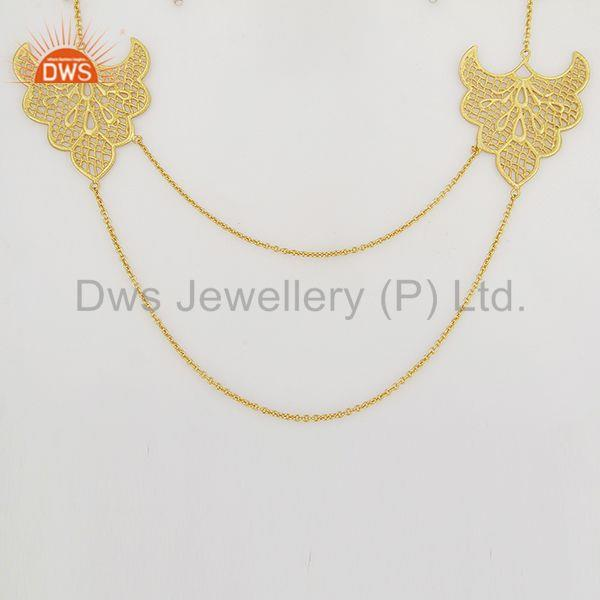 Traditional Handmade Art Design 18K Gold Plated Chain Necklace Jewellery