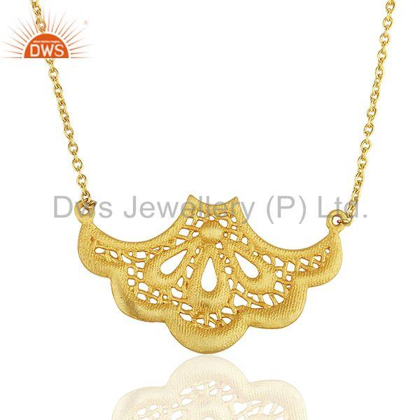 18K Gold Plated Traditional Handmade Art Fan Design Brass Chain Pendant Necklace