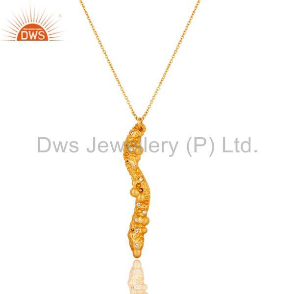 18k Yellow Gold Plated White Zirconia New Fashion Brass Chain Pendant Necklace