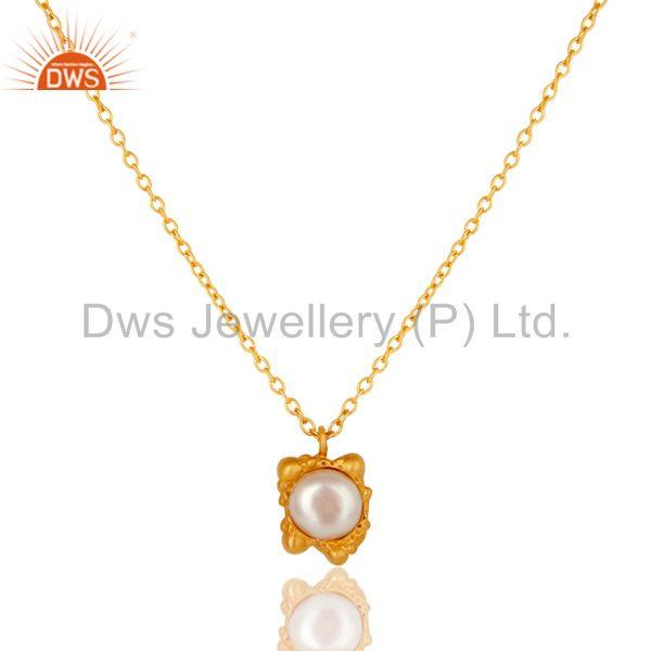 18k Gold Plated Good Look Little Charm Pearl Brass Chain Pendant