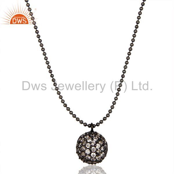 Classic Fashion Style Black Oxidized White Zirconia Brass Chain Pendant Necklace