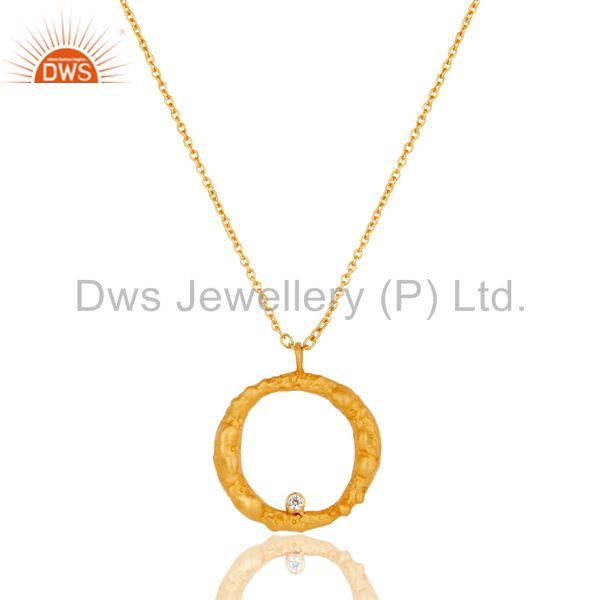 Handmade White Zirconia Simple Setting Brass Chain Pendant With 18k Gold Plated