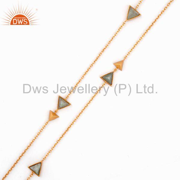 Triangle design gemstone gold plated brass fashion chain necklace