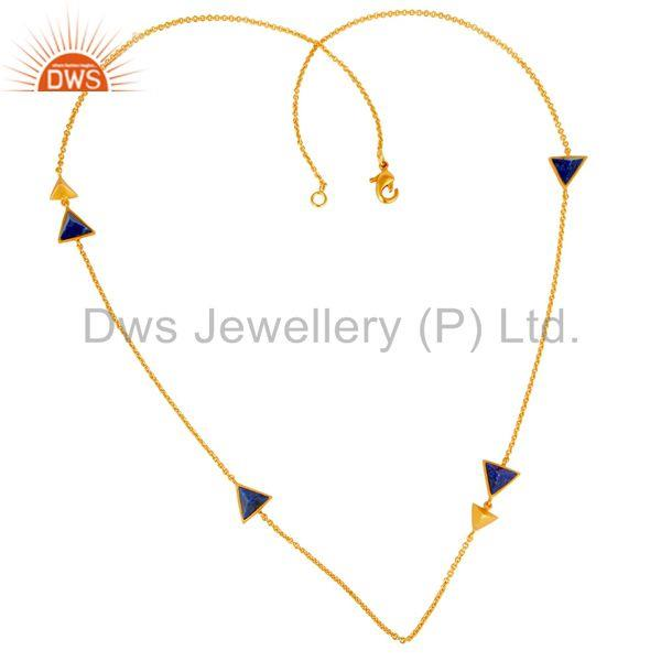 22K Gold Plated Handmade Lapis Lazuli Gemstone Brass Chain Necklace