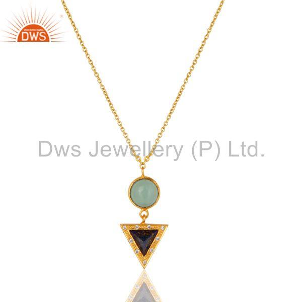 22K Gold Plated Lapis Lazuli, Aqua & White Zirconia Chain Pendant Necklace