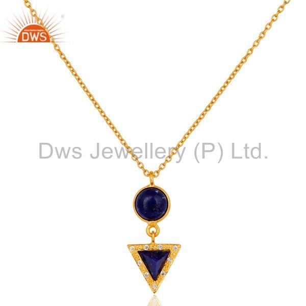 22K Gold Plated White Zirconia & Lapis Lazuli Gemstone Chain Pendant Necklace