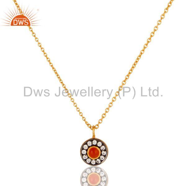 Carnelian & White Zirconia Charm Little 18K Gold Plated Brass Chain Pendant