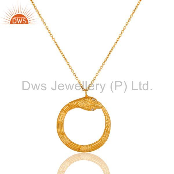 Beautiful Round Brass Chain Pendant With 18k Gold Plated & White Zirconia
