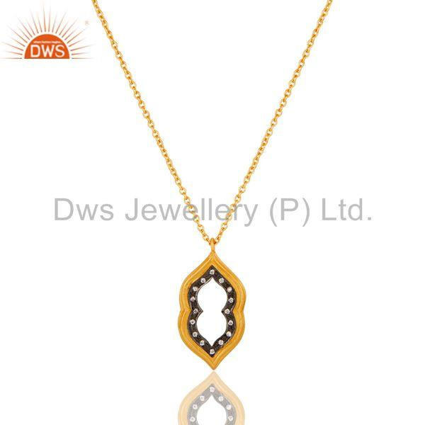 Beautiful Fashio Vintage Brass Chain Pendant With 18k Gold Plated & White Zircon