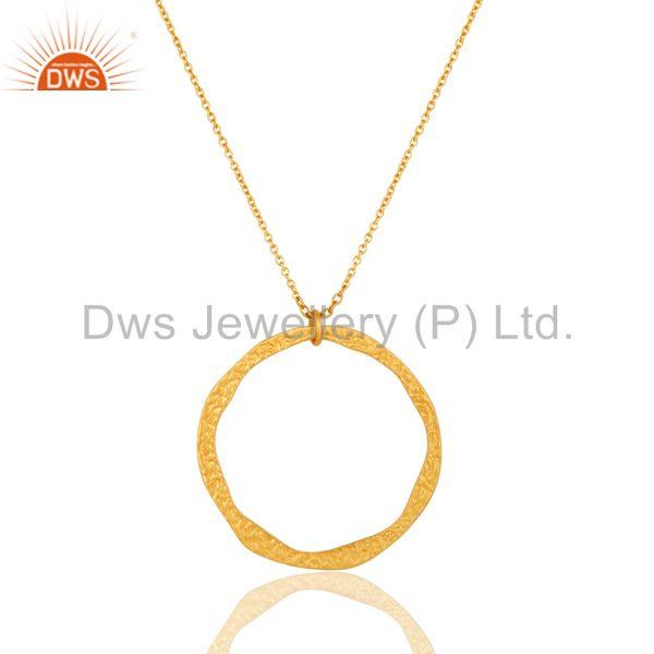 Traditional Handmade 18k Gold Plated Simple Fashion Round Brass Chain Pendant